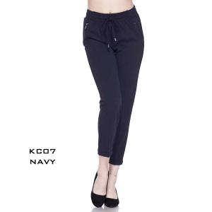 Pants - Drawstring Knit Crepe KC07  NAVY Pants - Drawstring Knit Crepe KC07  - Large