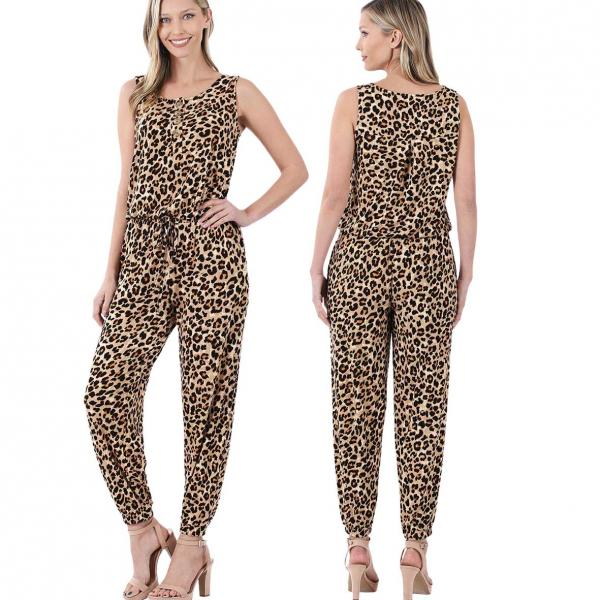 Wholesale Sleeveless Jogger Jumpsuit 430 LEOPARD Sleeveless Jogger Jumpsuit 430 - Small