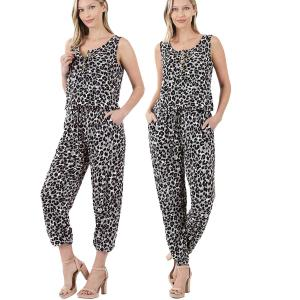 Sleeveless Jogger Jumpsuit 430 GREY LEOPARD Sleeveless Jogger Jumpsuit 430 - X-Large