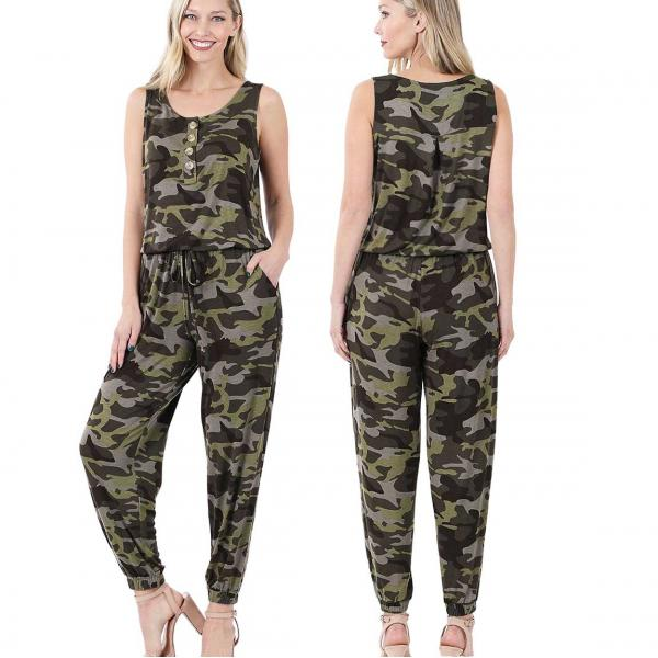 Wholesale Sleeveless Jogger Jumpsuit 430 CAMOUFLAGE Sleeveless Jogger Jumpsuit 430 - Large