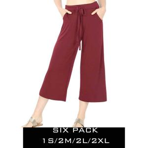 Wholesale   DARK BURGUNDY SIX PACK Cropped Pants w/Drawstring Waist 1795 (1S/2M/2L/1XL) - 1 Small, 2 Medium, 2 Large, 1 Extra Large