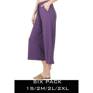 Wholesale   DARK PURPLE SIX PACK Cropped Pants w/Drawstring Waist 1795 (1S/2M/2L/1XL) - 1 Small, 2 Medium, 2 Large, 1 Extra Large