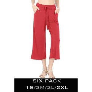 Wholesale   DARK RED SIX PACK Cropped Pants w/Drawstring Waist 1795 (1S/2M/2L/1XL) - 1 Small, 2 Medium, 2 Large, 1 Extra Large