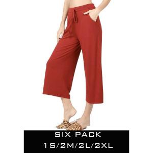 Wholesale   FIRED BRICK SIX PACK Cropped Pants w/Drawstring Waist 1795 (1S/2M/2L/1XL) - 1 Small, 2 Medium, 2 Large, 1 Extra Large