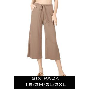 Wholesale   MOCHA SIX PACK Cropped Pants w/Drawstring Waist 1795 (1S/2M/2L/1XL) - 1 Small, 2 Medium, 2 Large, 1 Extra Large
