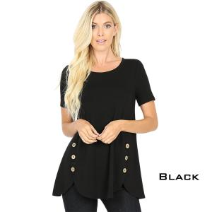 Short Sleeve Side Wood Buttons Top 2031 BLACK Short Sleeve Side Wood Buttons Top 2031 - Small