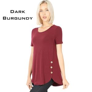 Short Sleeve Side Wood Buttons Top 2031 DARK BURGUNDY Short Sleeve Side Wood Buttons Top 2031 - Medium
