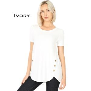 Short Sleeve Side Wood Buttons Top 2031 IVORY Short Sleeve Side Wood Buttons Top 2031 - Small