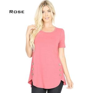 Short Sleeve Side Wood Buttons Top 2031 ROSE Short Sleeve Side Wood Buttons Top 2031 - X-Large