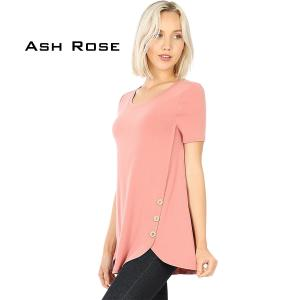 Wholesale  ASH ROSE Short Sleeve Side Wood Buttons Top 2031 - Small