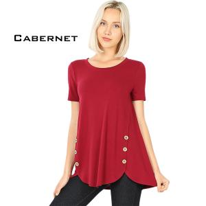 Short Sleeve Side Wood Buttons Top 2031 CABERNET Short Sleeve Side Wood Buttons Top 2031 - Small