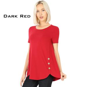 Short Sleeve Side Wood Buttons Top 2031 DARK RED Short Sleeve Side Wood Buttons Top 2031 - Medium