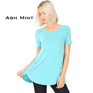 Short Sleeve Side Wood Buttons Top 2031 ASH MINT Short Sleeve Side Wood Buttons Top 2031 - Medium