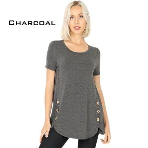 Short Sleeve Side Wood Buttons Top 2031 CHARCOAL Short Sleeve Side Wood Buttons Top 2031 - Large