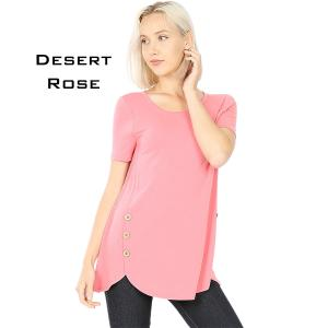 Short Sleeve Side Wood Buttons Top 2031 DESERT ROSE Short Sleeve Side Wood Buttons Top 2031 - Small