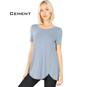 Short Sleeve Side Wood Buttons Top 2031 CEMENT Short Sleeve Side Wood Buttons Top 2031 - Medium