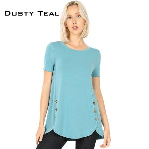 Short Sleeve Side Wood Buttons Top 2031 DUSTY TEAL Short Sleeve Side Wood Buttons Top 2031 - Large