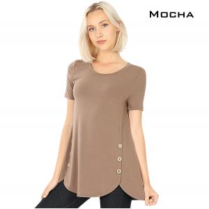Short Sleeve Side Wood Buttons Top 2031 MOCHA Short Sleeve Side Wood Buttons Top 2031 - Small