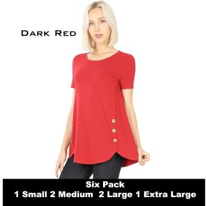 Wholesale   DARK RED (SIX PACK) Short Sleeve Side Wood Buttons Top 2031 (1S,2M,2L,1X) - 1 Small, 2 Medium, 2 Large, 1 Extra Large