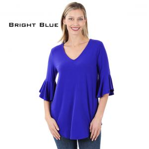 Wholesale  BRIGHT BLUE Waterfall Sleeve Top 3138 - Large