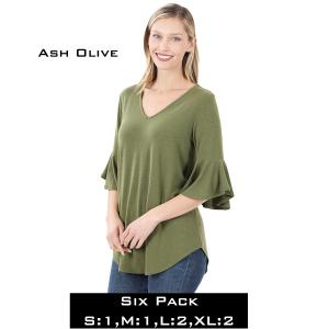 Wholesale   ASH OLIVE (SIX PACK) Waterfall Sleeve Top 3138 - 1 Small 1 Medium 2 Large 2 Extra Large