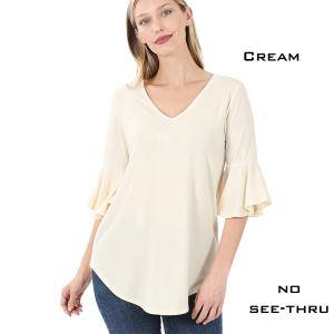 Wholesale  CREAM Waterfall Sleeve Top 3138 - Small