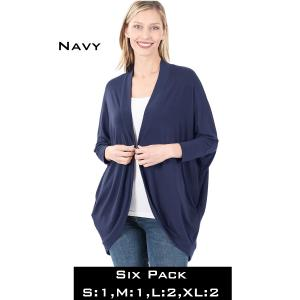 Wholesale   NAVY (SIX PACK) Cocoon Wrap Cardigan 1819 - 1 Small 1 Medium 2 Large 2 Extra Large