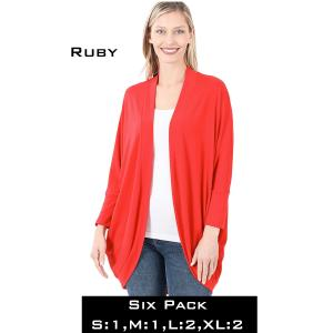 Wholesale   RUBY (SIX PACK) Cocoon Wrap Cardigan 1819 - 1 Small 1 Medium 2 Large 2 Extra Large