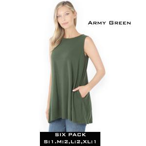 Wholesale  ARMY GREEN (SIX PACK) Flared Top with Pockets - 1630 (1S,2M,2L,1XL) - 1 Small, 2 Medium, 2 Large, 1 Extra Large