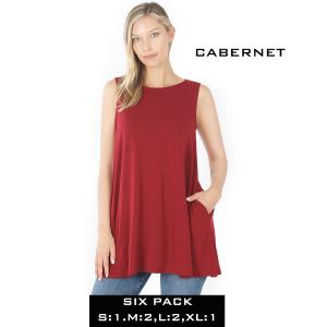 Wholesale   CABERNET (SIX PACK) Flared Top with Pockets - 1630 (1S,2M,2L,1XL) - 1 Small, 2 Medium, 2 Large, 1 Extra Large