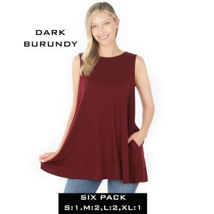 Wholesale   DARK BURGUNDY (SIX PACK) Flared Top with Pockets - 1630 (1S,2M,2L,1XL) - 1 Small, 2 Medium, 2 Large, 1 Extra Large