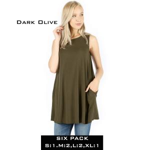 Wholesale   DARK OLIVE (SIX PACK) Flared Top with Pockets - 1630 (1S,2M,2L,1XL) - 1 Small, 2 Medium, 2 Large, 1 Extra Large