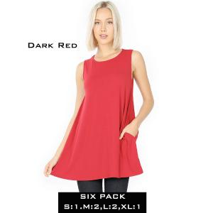 Wholesale   DARK RED (SIX PACK) Flared Top with Pockets - 1630 (1S,2M,2L,1XL) - 1 Small, 2 Medium, 2 Large, 1 Extra Large