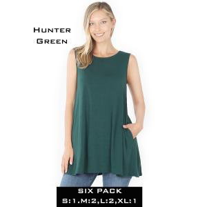 Wholesale   HUNTER GREEN (SIX PACK) Flared Top with Pockets - 1630 (1S,2M,2L,1XL) - 1 Small, 2 Medium, 2 Large, 1 Extra Large