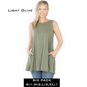 Wholesale   LIGHT OLIVE (SIX PACK) Flared Top with Pockets - 1630 (1S,2M,2L,1XL) - 1 Small, 2 Medium, 2 Large, 1 Extra Large