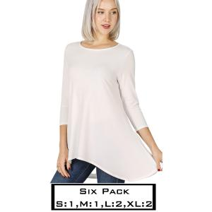 Wholesale   IVORY (SIX PACK) High-Low 3/4 Sleeve Top 2367(1S,1M,2L,2XL) - 1 Small 1 Medium 2 Large 2 Extra Large