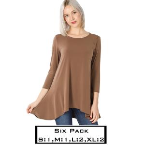 Wholesale   MOCHA (SIX PACK) High-Low 3/4 Sleeve Top 2367(1S,1M,2L,2XL) - 1 Small 1 Medium 2 Large 2 Extra Large