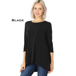 Wholesale  BLACK High-Low 3/4 Sleeve Top 2367 - Large