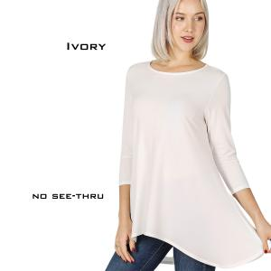 Wholesale  IVORY High-Low 3/4 Sleeve Top 2367 - Large