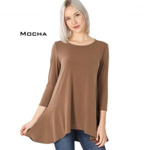 Wholesale  MOCHA High-Low 3/4 Sleeve Top 2367 - Large