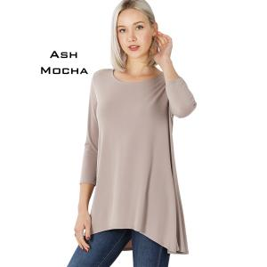 Wholesale  ASH MOCHA Ity High-Low 3/4 Sleeve Top 2367 - Large