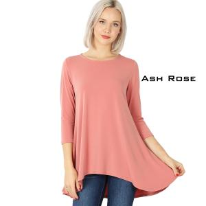 Wholesale  ASH ROSE Ity High-Low 3/4 Sleeve Top 2367 - X-Large