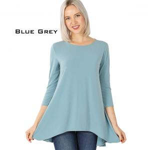 Wholesale  BLUE GREY Ity High-Low 3/4 Sleeve Top 2367 - Medium