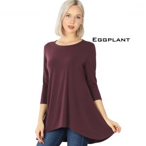 Wholesale  EGGPLANT Ity High-Low 3/4 Sleeve Top 2367 - Large