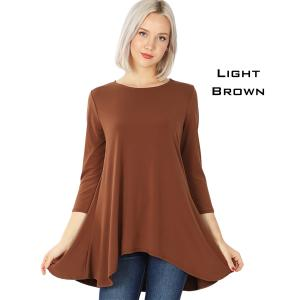 Wholesale  LIGHT BROWN Ity High-Low 3/4 Sleeve Top 2367 - X-Large