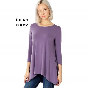 Wholesale  LILAC GREY Ity High-Low 3/4 Sleeve Top 2367 - Medium