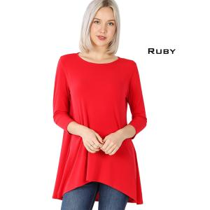 Wholesale  RUBY Ity High-Low 3/4 Sleeve Top 2367 - X-Large