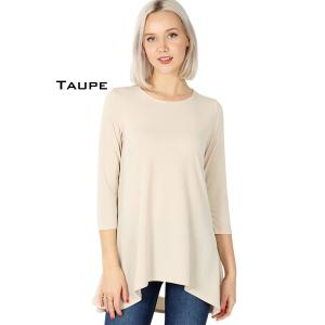 Wholesale  TAUPE Ity High-Low 3/4 Sleeve Top 2367 - X-Large