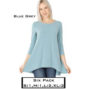 Wholesale   BLUE GREY (SIX PACK) High-Low 3/4 Sleeve Top 2367(1S,1M,2L,2XL) - 1 Small 1 Medium 2 Large 2 Extra Large