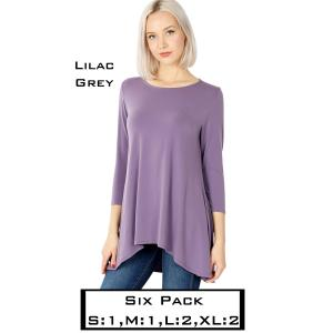 Wholesale   LILAC GREY (SIX PACK) High-Low 3/4 Sleeve Top 2367(1S,1M,2L,2XL) - 1 Small 1 Medium 2 Large 2 Extra Large